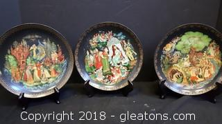 Set Of (3) Collectible Plates Made In Russia