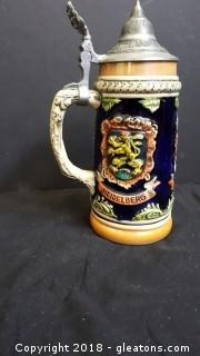 Antique Made In West Germany Pewter Lid Beer Stein Mug