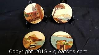Set Of (4) Wooden Inlay Hand painted Coasters