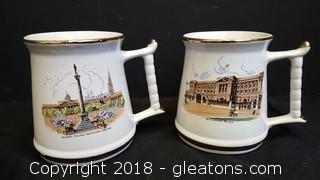 Set Of (2) Vintage English Coffee Mugs