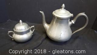 Vintage Pewter Pitcher And Sugar