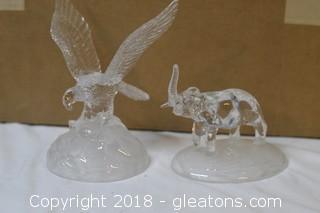 Glass statues Eagle & Elephant