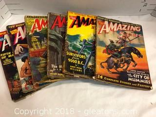 "1940's Pulp Magazine Set Of 6 ""Amazing Stories"""