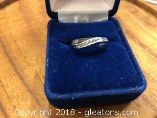 Wedding Band Stamped Silver and Verified Diamonds