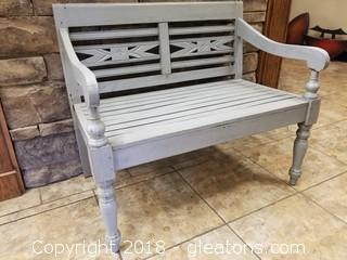 Distressed Gray Outdoor Bench