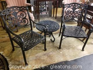 Set Of (2) Iron Black Chairs With Small Accent Table/Side Table