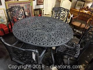 "54"" Inch Round Wrought Iron Table With 4 Chairs"