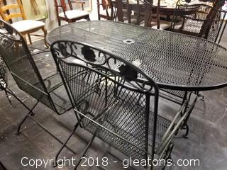 Heavy Black Iron Mesh Table W/4 Rocker