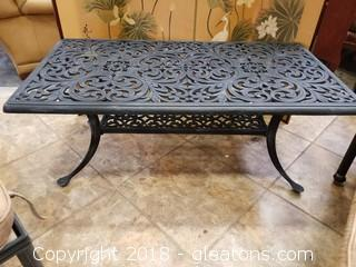 Black Wrought Iron Nice Heavy Outdoor Coffee Table with (A)