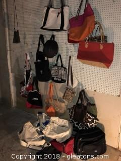 Lot of Handbags Purses and Luggage