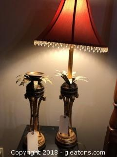 Matching Jeweled Tall Table Lamp and Candle Holder