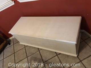 Painted Bench with Storage and Cushion