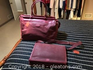 Red Leather Messenger Bag and Overnight Bag  Never Used