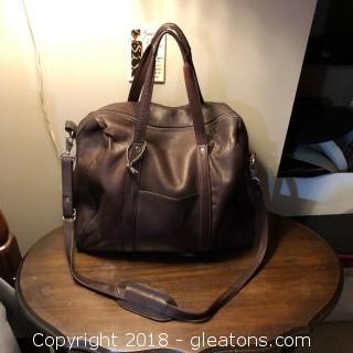 Unisex Leather Overnight Bag