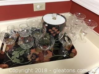 Barware Serving Platter, Ice Bucket, and Glasses