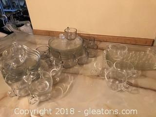Lot of Three Glass Luncheon Sets