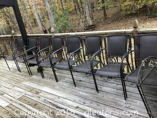 Lot of 8 Outside Wicker Chairs