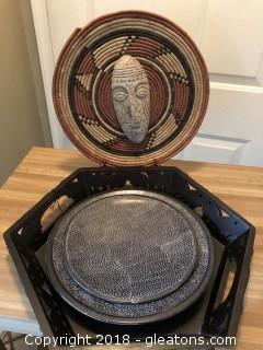 African Basket wall handing and Kenyan Plates and Elephant Tray