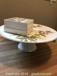 Porcelain Cake plate with matching napkin rings