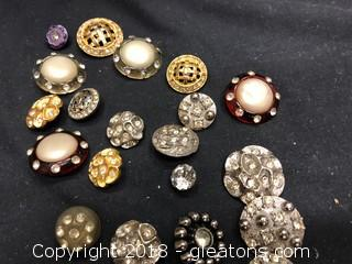 Collection Of 20 Vintage Rhinestone Buttons