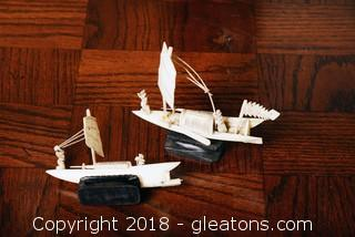 Hand Carved miniature Pirate Ships Set Of (2)