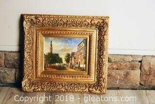 Heavy ornate Gold Framed Cityscape