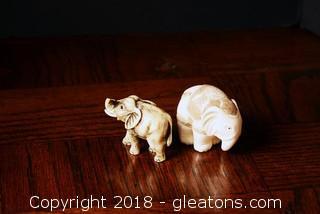 Set Of Chinese Hand Carved Ivory Color Bone Netsuke Elephants
