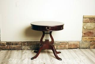 "Midsize Heavy Round Lyre ""Harp"" 4 Legged Table"