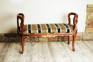 Solid Ornate Accent Bench - LOT A - 1 of 2