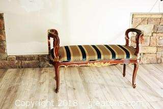 Solid Wood Ornate Accent Bench - LOT B - 2 of 2