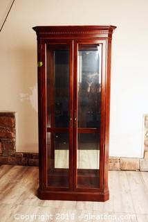 Gorgeous Tall Glass Curio/China Cabinet. W/Glass Shelves