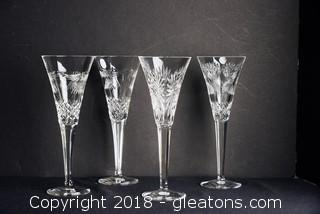 4-Waterford Crystal Champagne Flutes Millennium Series NEW Set Of 4