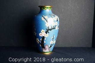 Antique Japanese Cloisonne Enamel Floral Vase