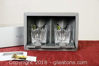 """Waterford Crystal  Set Of 2 Toasting Double Old Fashions """"Love Pattern"""