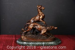 Heavy Bronze on Marble Statue