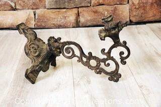 Antique Wall Sconce Candle Holder VIntage Cast Iron