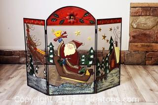 Decorative Metal Christmas Fireplace Screen