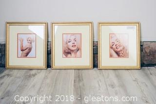 Set Of (3) Bert Stern Marilyn Monroe Prints
