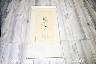 Vintage Mystery Estate Find Chinese Imperial Style Scroll Signed Original Print Geisha Girl