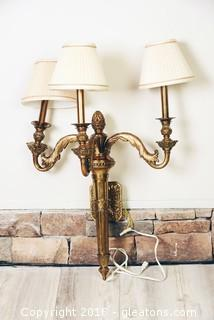 Large Heavy Brass Maitland/Smith Electric Wall Sconce With Label