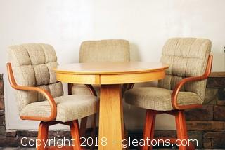 Like New Pub Table with 3 Upholstered Bar Stools.