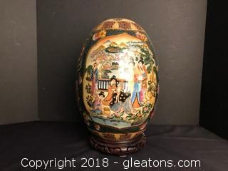 Antique Hand Painted Satsuma Egg With Stand