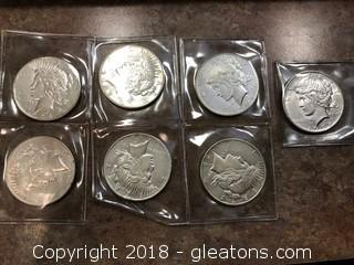 Set of 7 Silver Dollars 1928