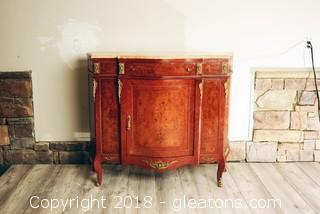 Antique Burled Wood and Marble Buffet
