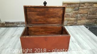 Vintage Wooden Trunk - Burnt Orange Color