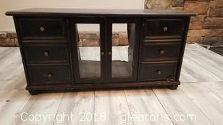 Black Pressed Wood Glass Front Doors T.V. Cabinet