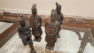Set Of (4) Chinese Terracotta Soldiers Warrior