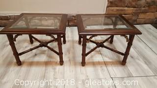 PR Of Glass Top Dark Wood/Brass Accent Teak Style End Tables Side Tables