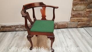 Slightly Damaged Corner Vintage Wooden Hand Carved Covered Seat Chair