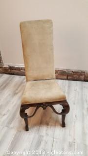 High Back Velvet Covered Wooden Legs Vintage Chair